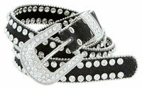 "9001 Women's Rhinestones Studded Fashion Belt 1"" Wide Black"
