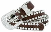"9001 Women's Rhinestones Studded Fashion Belt 1"" Wide Brown"