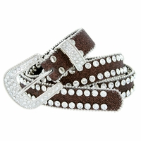 "9001 Women's rhinestone-studded Fashion Belt 1"" Wide Brown"
