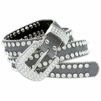 "9001 Women's rhinestone-studded Fashion Belt 1"" Wide Silver"
