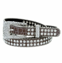 "9011 Women's rhinestone-studded Fashion Belt 3/4"" Wide - Taupe"