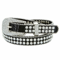 "9011 Women's Rhinestones Studded Fashion Belt 3/4"" Wide - Black"