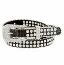 "9011 Women's Rhinestones Studded Fashion Belt 3/4"" Wide - Brown"