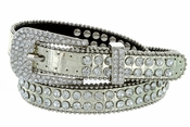 "9011 Women's Rhinestones Studded Fashion Belt 3/4"" Wide - Gold"