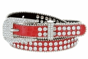 "9011 Women's Rhinestones Studded Fashion Belt 3/4"" Wide - Red"