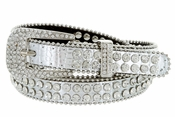 "9011 Women's Rhinestones Studded Fashion Belt 3/4"" Wide - Silver"
