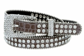 "9011 Women's Rhinestones Studded Fashion Belt 3/4"" Wide - Taupe"