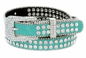 "9011 Women's Rhinestones Studded Fashion Belt 3/4"" Wide - Turquoise"