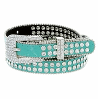 "9011 Women's rhinestone-studded Fashion Belt 3/4"" Wide - Turquoise"
