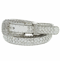 "9011 Women's Rhinestones Studded Fashion Belt 3/4"" Wide - White"