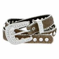 "9030 Women's rhinestone-studded Fashion Belt 3/4"" Wide Gold"