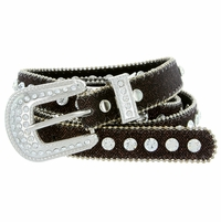 "9030 Women's Rhinestones Studded Fashion Belt 3/4"" Wide Brown"