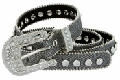 "9030 Women's Rhinestones Studded Fashion Belt 3/4"" Wide Silver"