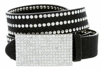 "9067 Women's Rhinestones Buckle Fashion Belt 1-1/4"" Wide Black"