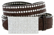 "9067 Women's Rhinestones Buckle Fashion Belt 1-1/4"" Wide Brown"