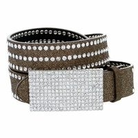 "9067 Women's Rhinestones Buckle Fashion Belt 1-1/4"" Wide Gold"