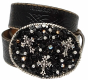 93380 Rhinestone Sterling Silver Crosses Buckle Leather Belt