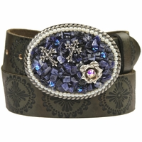 93520 Women Rhinestones Buckle Leather Belt
