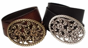 93794 Full Grain Leather Rhinestone Buckle Belt