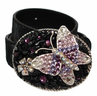93888 Hair On Leather Rhinestone Buckle Belt