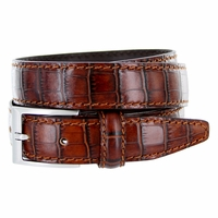 "9536-30 Men's Italian Alligator Embossed Calfskin Leather Dress Belt 1-1/8"" Wide - Marrone (Brown)"