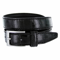 "9536-30 Men's Italian Alligator Embossed Calfskin Leather Dress Belt 1-1/8"" Wide - Nero (Black)"