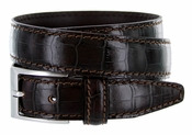 "9536-30 Men's Italian Alligator Embossed Calfskin Leather Dress Belt 1-1/8"" Wide - T.Moro (Dark Brown)"