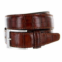 "9536-35 Men's Italian Alligator Embossed Calfskin Leather Dress Belt 1-3/8"" Wide - Marrone (Brown)"