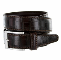 "9536-35 Men's Italian Alligator Embossed Calfskin Leather Dress Belt 1-3/8"" Wide T. Moro (Dark Brown)"