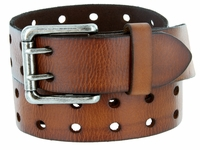 "9979102 Two Holes Vintage Full Leather Casual Jean Belt 1-1/2"" (38mm) Brown"