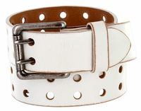 "9979102 Two Holes Vintage Full Leather Casual Jean Belt 1-1/2"" (38mm) White"