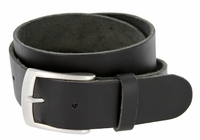 "Men's Vintage Soft One Piece Full Leather Casual Jean Belt 1-1/2"" wide Black"