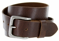 "A399 Men's Full Grain Vintage Leather Belt - Brown 1-1/2"" wide"