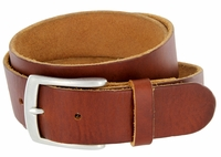 "Men's Vintage Soft One Piece Full Leather Casual Jean Belt 1-1/2"" wide Tan"