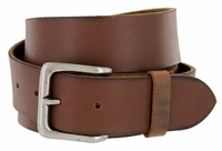 "A399 Mens Full Grain Brown Leather Casual Jean Belt  1-1/2"" Wide"