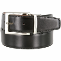 "A505-NP-160501 Men's Reversible Genuine Leather Dress Casual Belt 1-3/8"" (35mm) wide - Black/Tan"
