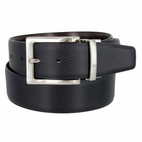 "A505-NP-160505 Men's Reversible Genuine Leather Dress Casual Belt 1-3/8"" (35mm) wide - Black/Brown"