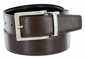 "A505S Men's Reversible Leather Dress Belt (1-1/4"" or 32mm) Brown/Black"