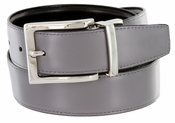 "A505S Men's Reversible Leather Dress Belt (1-1/4"" or 32mm) Gray/Black"