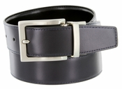 "A505S Men's Reversible Leather Dress Belt (1-1/4"" or 32mm) Navy/Black"