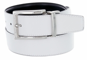 "A505S Men's Reversible Leather Dress Belt (1-1/4"" or 32mm) White/Black"