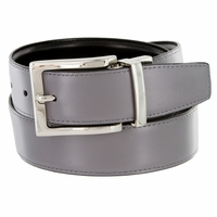 "A505S Men's Reversible Leather Dress Belt (1-3/8"" or 35mm) Gray/Black"