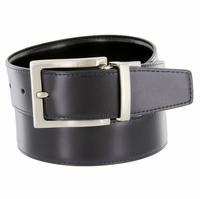 "A505S Men's Reversible Leather Dress Belt (1-3/8"" or 35mm) - Navy/Black"