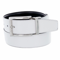 "A505S Men's Reversible Leather Dress Belt (1-3/8"" or 35mm) White/Black"