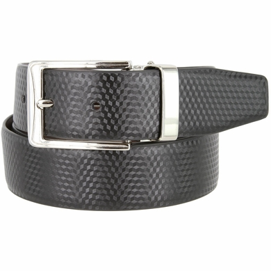 "A530-NP-160503 Men's Reversible Genuine Leather Dress Casual Belt 1-3/8"" (35mm) wide - Black/Brown"