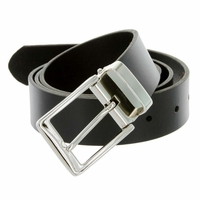 "A53035 Men's One Piece Full Genuine Leather Dress Belt 1-3/8"" (35mm) Wide-Black"