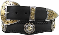 Abilene Men's Western Cowhide Leather Star Berry Concho Belts