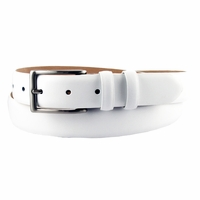 "Adam 6162 Men's Smooth Leather Dress Belt 1 1/8"" Wide-White"