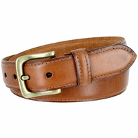 "Adjustable Vintage Style Casual Dress Jeans Genuine Leather Belt 1-3/8"" wide - Tan"