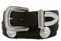 American Indian Coin Concho Western Leather Belt